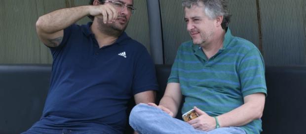 Alexandre Mattos e Paulo Nobre conversam no CT do Palmeiras