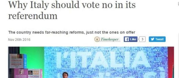 L'articolo dell'Economist sul perché gli italiani dovrebbero votare no