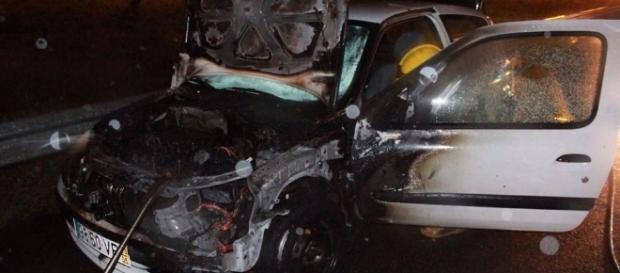 O carro de Ruben Boa Nova começou a arder na estrada.