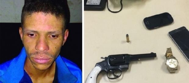 Arma e celular foram apreendidos com o suspeito.