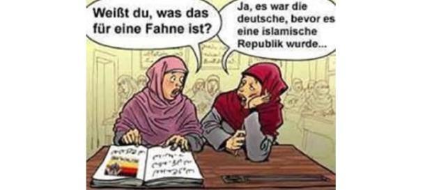 Cartoon über das muslimisch eroberte Deutschlad