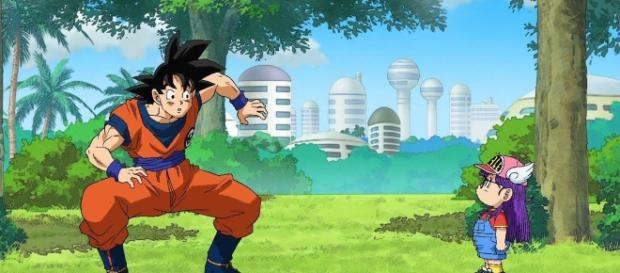 """Goku and Arale in front again (""""Vegetto"""": Youtube)"""