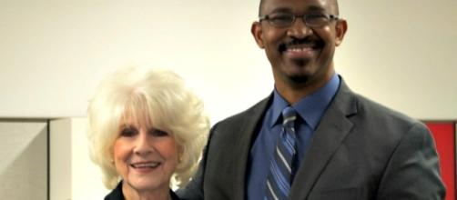 Diane Rehm and Joshua Johnson, the host of The Diane Rehm Show's successor program, 1A.MADELEINE POORE/WAMU (from station)