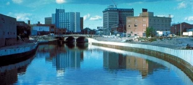 Heavily polluted Flint River water in Flint, Mich. Wikimedia.