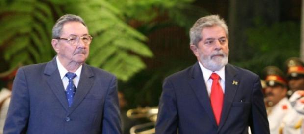Raul Castro i były prezydent Brazylii, Lula.