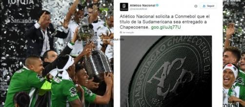 Atlético Nacional pede que título seja entregue ao Chapecoense (Foto: Reprodução)