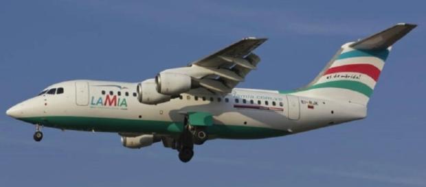 Avião da Companhia Lamia, onde viajavam jogadores da Chapecoense