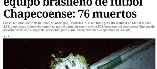 Cai avião do time da Chapecoense, que ia para a final da Sul-Americana