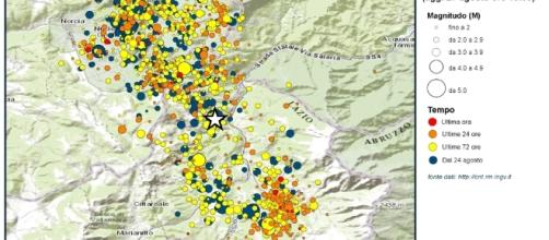La mappa dei sismi fornita dall'INGV