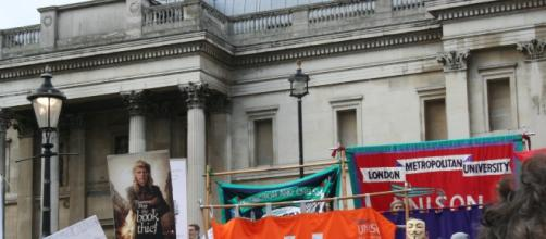 Protest rally for libraries, museums and galleries at Trafalgar Square