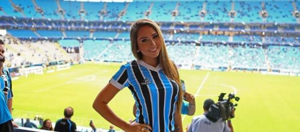 Exclusivo: Carol Portaluppi na Arena do Grêmio