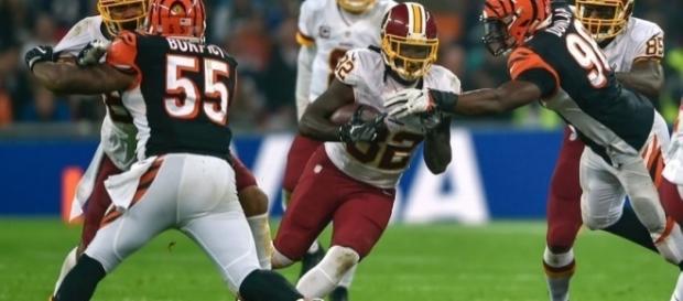 Redskins' back Robert Kelley rushing against the Cincinnati Bengals in London. Steve Flynn ....- USA Today Sports
