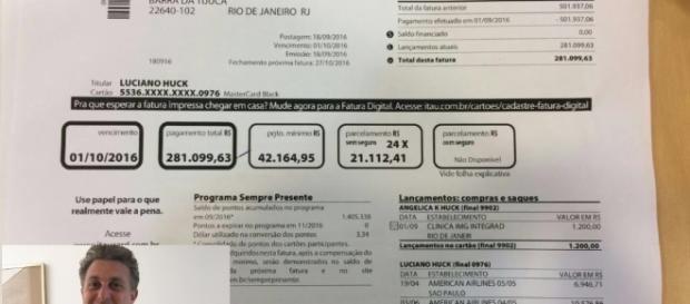 Suposta fatura do cartão de crédito de Luciano Huck enlouquece os internautas