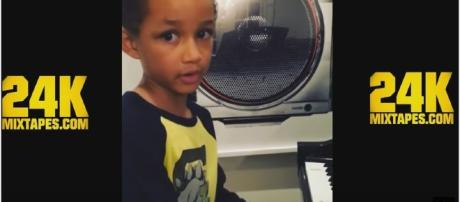 "Egypt Dean. five years old - son of Alicia Keys makes his debut with ""Super Boy"" Photo screencap via 24K Mixtapes Youtube"