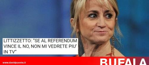"""Bufala Littizzetto: """"Se al Referendum vince il NO non mi vedrete più in tv"""""""