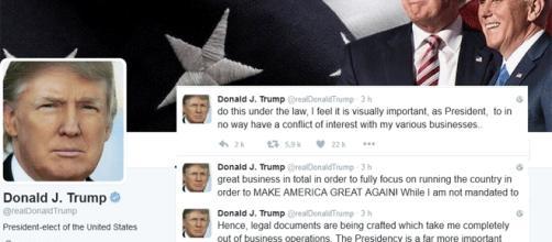Donald Trump annonce qu'il délaisse ses affaires et sociétés via Twitter