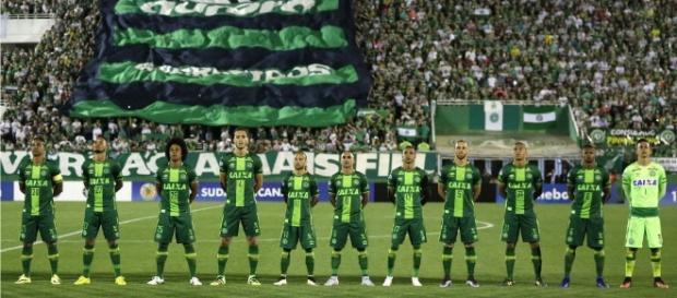 El 11 titular del Chapecoense antes de un partido.