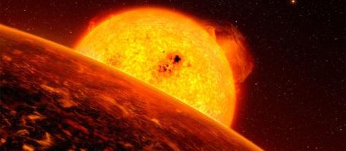 Representação de uma super-Terra próxima de sua estrela (Foto: ESO/L.Calçada)