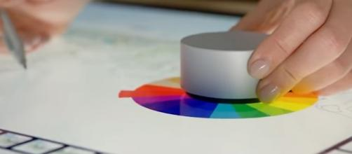 "Screen capture from Microsoft's demo video, demonstrating the ""Surface Dial usage"" (YouTube/Surface)."