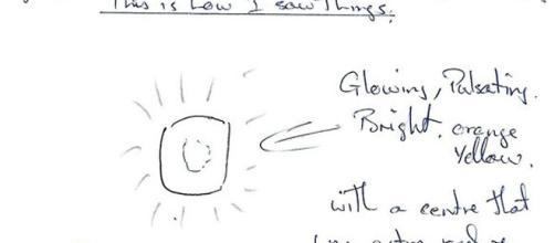 Una dei disegni del testimone mandate al MUFON