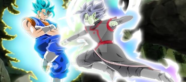la gran lucha entre Vegetto y Zamasu