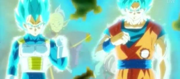 Vegeta a punto de fusionarse con Goku