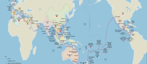La rotta che seguirà la Viking Sun per effettuare il giro del mondo in 141 giorni. - Immagine da Vanity Fair