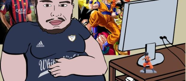Artwork de July3p en su habitación junto a su PC, y sus posters de Messi y Goku.