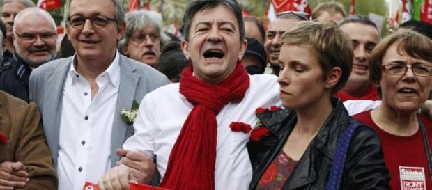 Mélenchon encadré par Pierre Laurent et Clémentine Autain au bon vieux temps du Front de gauche