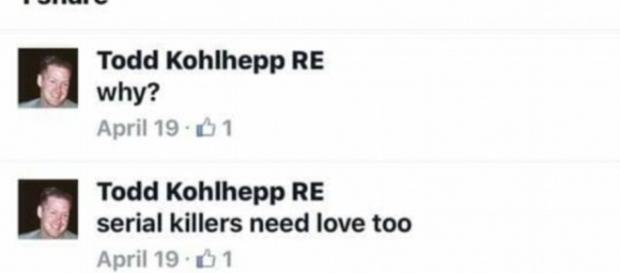 """Todd Kohlhepp haciendo un comentario en FB sobre como """"los asesinos en serie necesitan amor también"""" Fuente: daily.co.uk"""