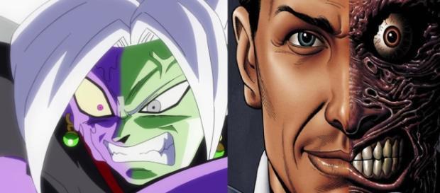 Zamasu y un dibujo de Dos Caras realizado por el artista Peter J Tomasi para el comic de DC