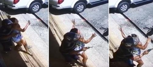 Durante a tentativa de fuga, um dos assaltantes fez uma mulher, que passava na rua, de refém