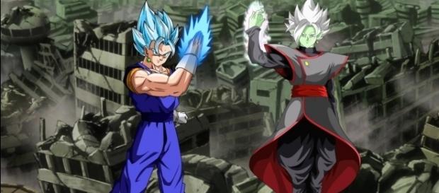 Imagen fan art sobre Vegetto y Zamasu fusionado
