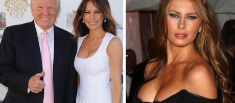 A futura primeira-dama juntamente com Trump em um das Convenções Republicanas ainda durante a corrida presidencial.