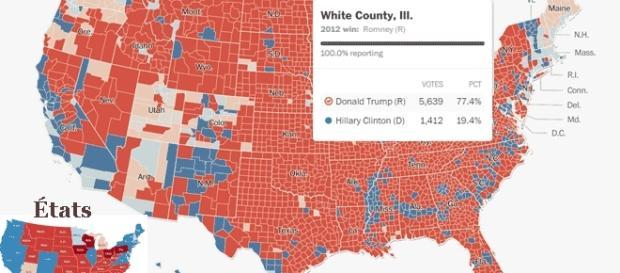 Tout autour du White County, Illinois, Donald Trump l'a emporté très largement (77,4% contre 19,4% à Clinton dans ce comté représentatif)