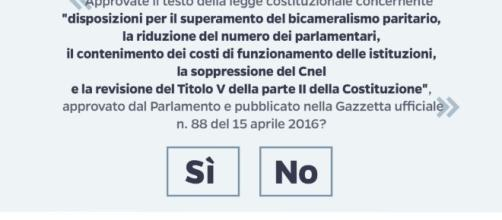 Scheda testo completo quesito Referendum 2016