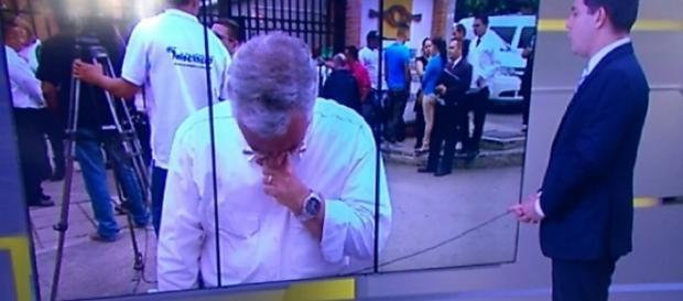 Ari chora ao vivo - imagem/Globo