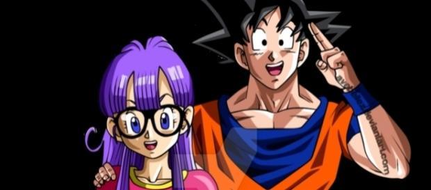 DBS Arale adulta y Goku traje Z