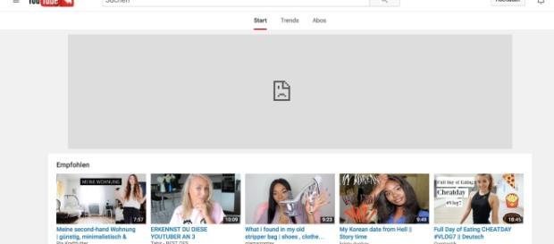 Die neue Youtube Startseite mit den Trends