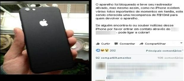 Empresária oferece R$ 10 mil para quem devolver seu celular perdido.