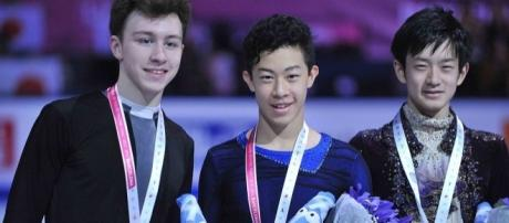 American Nathan Chen (center) earned the silver at the Grand Prix Final, one year after he took gold in the junior Final. Susan D. Russell/Wikimedia