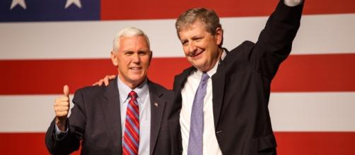 Vice President-elect Mike Pence, left, campaigned in Louisiana for John Neely Kennedy. - capradio.org