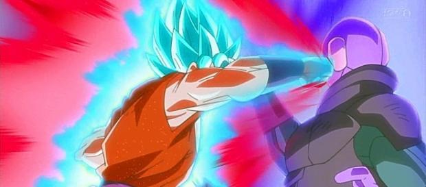 Goku usa el kaioken para golpear a Hit