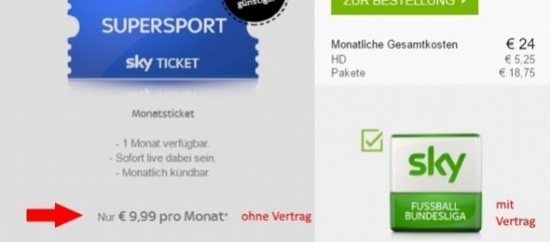 Sky Ticket günstiger als Vertrag / Fotos: Screenshot Sky.de