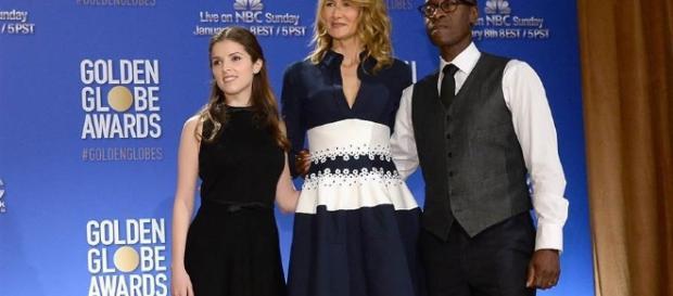 Anna Kendrick, Laura Dern e Don Cheadle no anúncio dos indicados. (divulgação)