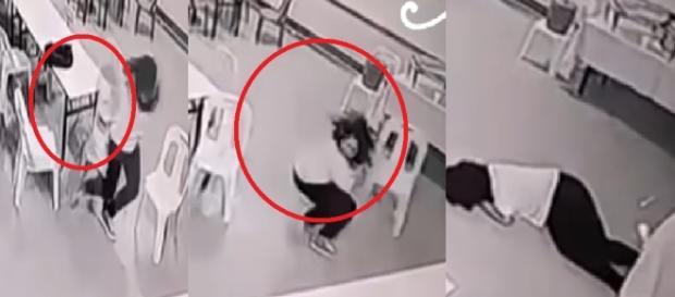 Suposto fantasma agride uma mulher - Imagens/Youtube