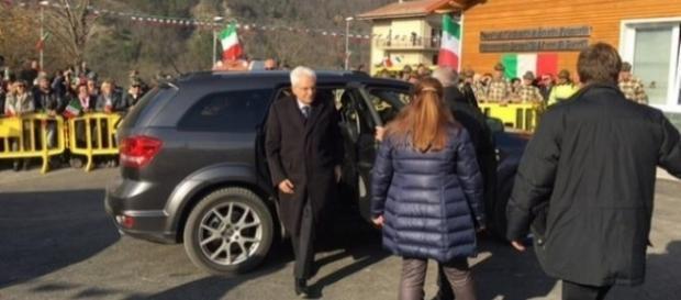 L'arrivo del presidente della Repubblica Sergio Mattarella nella scuola di Centrale di Acquasanta Terme