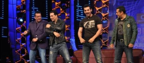 Richest Bollywood actors - gulte.com/photos/Events/4/Akshay-and-John-Promote-Desi-Boyz-on-Bigg-Boss-5-with-Salman-Khan/356