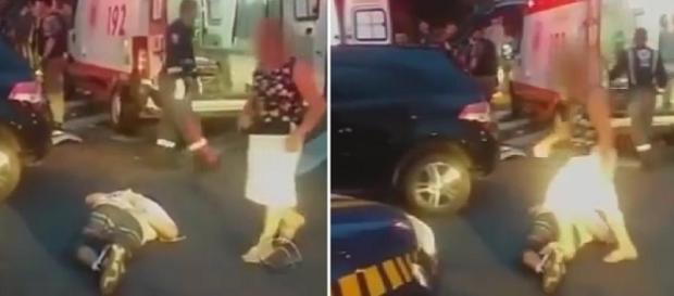 Muller pisa na perna quebrada de bandido que estava deitado no chão.
