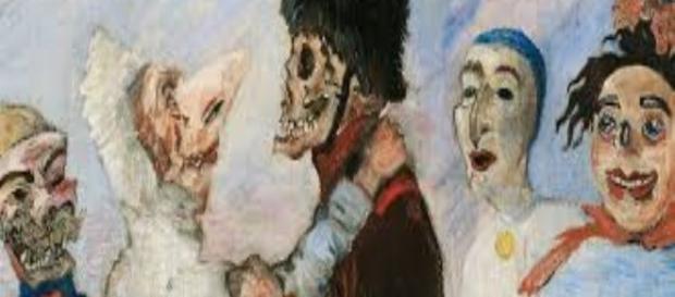 "James Ensor, ""Squelette arrêtant masques"" (Skeleton stopping masks) sothebys.com Creative Commons"